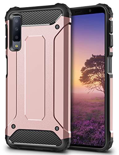 Coolden Samsung Galaxy A7 2018 Hülle,Premium [Armor Serie] Outdoor Stoßfest Schutzhülle Tough Silikon TPU + PC Bumper Cover Doppelschichter Handyhülle für Samsung Galaxy A7 2018 Smartphone (Rose Gold)
