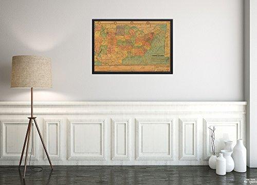 New York Karte Company (TM) 1880-1889Karte, United States tackabury der Doppelseitig Puzzle, mit Einem Map|of der Vereinigten Staaten pennsyl|Vintage Fine Art Reproduction|Ready Zum Rahmen