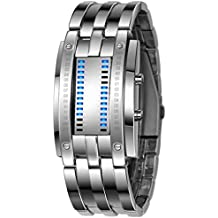 Relojes Hombre,Xinan Acero Inoxidable Relojes Deportivos de lujo LED Digital Pulsera (Plata)