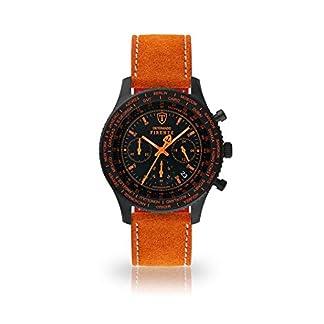 DETOMASO Firenze Reloj Caballero Cronógrafo Analógico Cuarzo Naranja Correa de Cuero Esfera Negra SL1624C-BO-806
