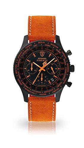 DETOMASO Firenze Herren-Armbanduhr Chronograph Analog Quarz schwarzes Edelstahlgehäuse schwarzes Zifferblatt - Jetzt mit 5 Jahre Herstellergarantie (Leder - Orange (Naht: Weiß))
