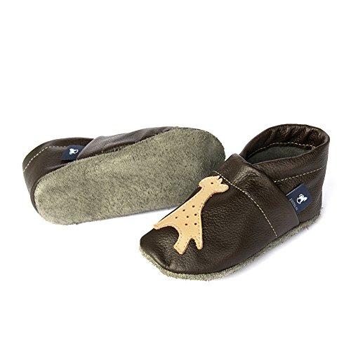 De Sapatos Walker Sapatos eu Girafa Couro Rastejando Dunkelbraun De apricot Sapatos Infantis Puschen Bebê Com Pantau HH184xq