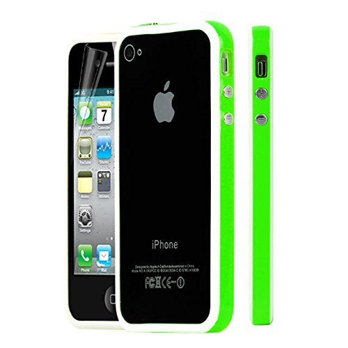 New Style Bumper Cover Jelly Case for Apple iPhone 4 4S amarillo-negro white-green