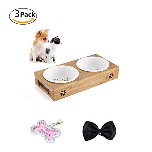 LA VIE Haustier Näpfe Fütterung Schüssel Keramik Wasser Fütterung Schüssel mit Anti Rutsch Bambus Ständer Doppel Schüssel Perfekt für Klein Katze Hunde Zufällige Farbe S -