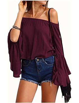YOGLY Camisetas Mujeres Blusa Camisa Manga Largas Camiseta Hombro Descubierto Camiseta Top Camisa de Mujer Color...