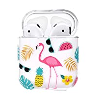 AIsoar Compatible for AirPods Case Air Pods Cover Clear Transparent Summer Pattern Shockproof protective Cover Case for airpods 1 (Flamingo)