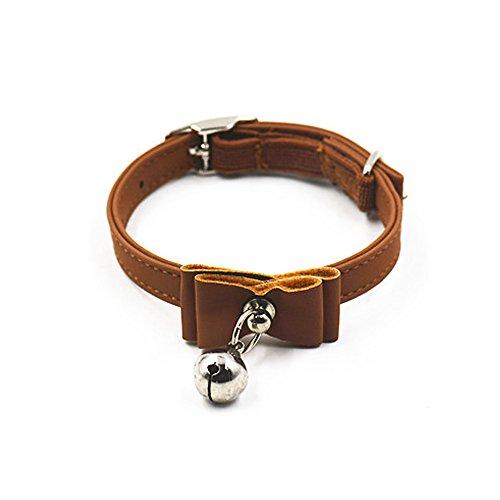Verstellbare Pet Dog & Cat Katzenhalsband, Samt Fliege Sicherheit Elastic Halsbänder Hals Kette mit Glöckchen coffee