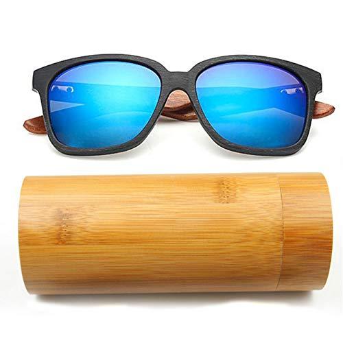 Taiyangcheng Männer Holzmaserung Sonnenbrillen Frauen Spiegel Imitieren Bambus Sonnenbrillen Brille,Schwarz Blau