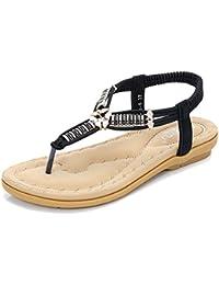 Frauen Böhmen Römersandalen Runde Peep Toe Bead Elastische T-Strap Sommer Strand Sandalen Flip Flops Flache Schuhe Thongs ( Color : Black , Größe : 36 )