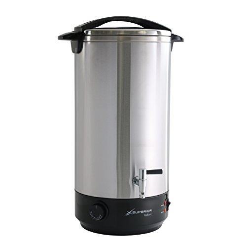 Superior Exklusiv Heißgetränkespender 22 Liter, doppelwandiger Teebereiter mit Zapfhahn, Universalkocher aus hochwertigem Edelstahl, Glühweinkocher mit Präzisionsthermostat und Überhitzungsschutz