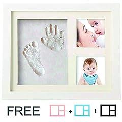 Idea Regalo - Kit impronta neonato | Cornice Bambini 4 in 1 | Speciale Regalo per Festeggiare La Nascita Di un Bimbo o Per Battesimi | Da Soprammobile | In Legno | Applicabile Anche a Parete