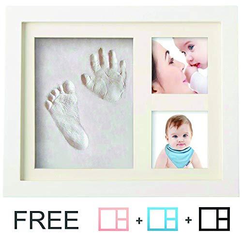 Kit impronta neonato | cornice bambini 4 in 1 | speciale regalo per festeggiare la nascita di un bimbo o per battesimi | da soprammobile | in legno | applicabile anche a parete
