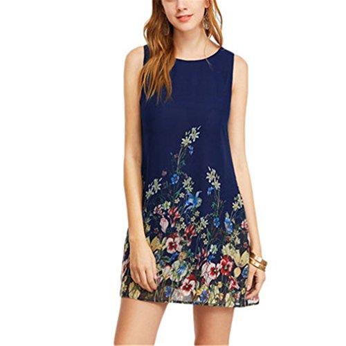 Damen Kleider Ankunft Navy geknöpft Keyhole Zurück Blumendruck Scoop Neck Sleeveless A Line Dress Blue XS - A-line Scoop Natürliche