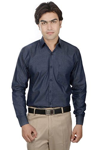25th R Blue 100% Cotton Slim Fit Solid Plain Self Textured Formal Shirts For Men