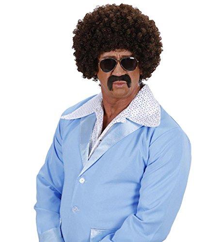 Cooles Agenten Afro Lockenperücke Set 70er 80er Jahre mit Perücke Brille und Bart ()