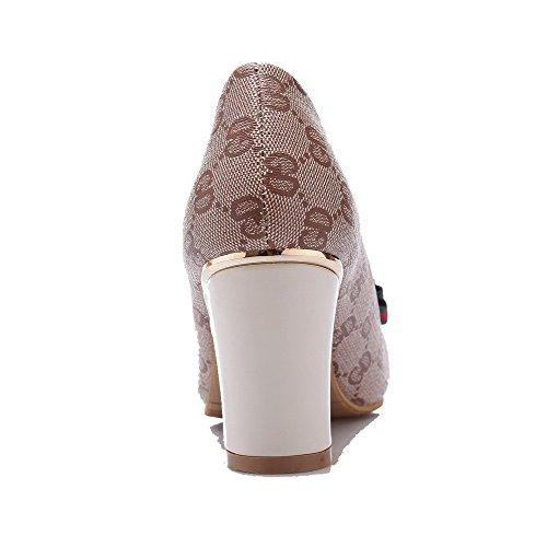 VogueZone009 Femme Mosaïque Pu Cuir à Talon Haut Carré Tire Chaussures Légeres Beige