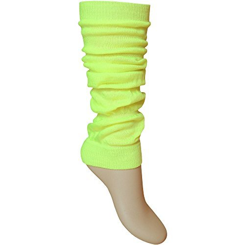ladies-girls-bright-fluorescent-neon-stretch-fit-comfort-ankle-leg-warmers-neon-yellow