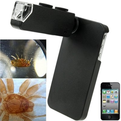 Generic 100X Zoom Digital Cell Phone Microscope Maginifier + Back Cover for iPhone 4 & 4S(Black)
