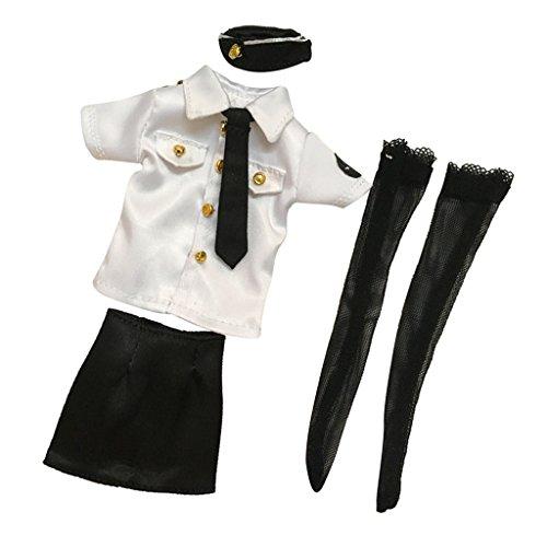 figuren Kleidung Polizistin Uniform Set für 12'' Weibliche Action Figur ( Weiß & Schwarz ) (Schwarz Und Weiß Figur Kostüme)