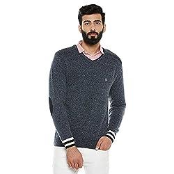 Duke Men Solid Sweater Navy Mix Coloured XX-Large