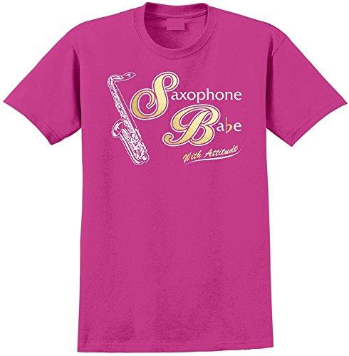 Saxophone Sax Tenor Saxophone Babe Attitude - Magenta Rosa T Shirt Größe 119cm 48in 2XL MusicaliTee (Rosa-tenorsaxophon)