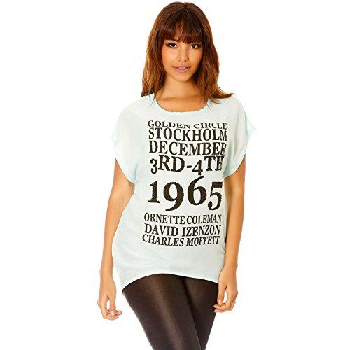 Miss Wear Line - Tee-Shirt Turquoise à imprimé et résille au DOS
