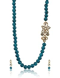 Geode Delight Green Beads Kundan Style Strand Necklace Set