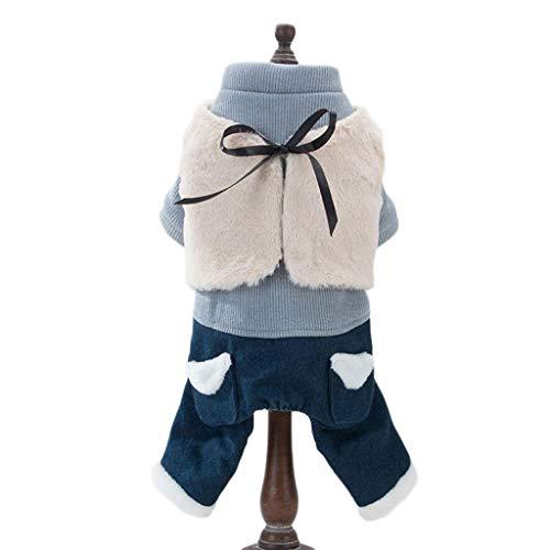Vierbeinigen Kostüm - ZJEXJJ Hund Kleidung Haustier vierbeinigen Baumwollmantel Kleinen Hund warme Dicke Kleidung Herbst und Winter Kleidung (Farbe : Blau, größe : XS)