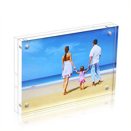 NUIBEE Cadre Photo Acrylique Transparent Cadre Portrait Plexiglas Tableau avec Fermeture Magnétique (10x15.3x1.9)cm