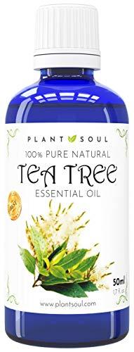 Ätherisches Teebaumöl 50ml 100% rein & natürlich | Fördert Wundheilung | Pflegt trockene, schuppige Haut | Effektives mittel für Akne | Hilft gegen Nagelpilze | Tolles Haushaltsreinigungsmittel