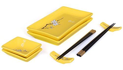 Sukihana - Juego de menaje para sushi (8 piezas, para dos personas), color amarillo