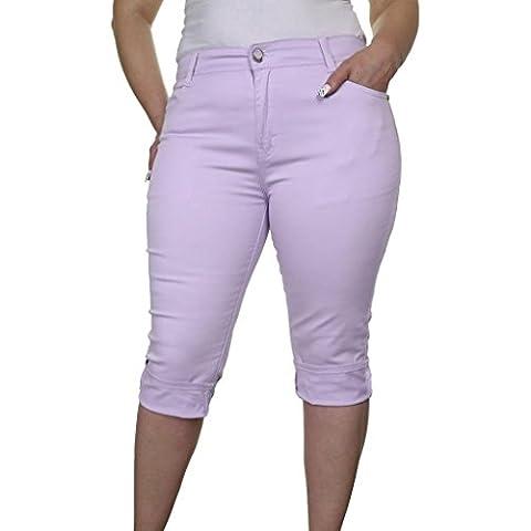 (1442-3) recortada ¾ expandibles purpúreo claro Tallas Jeans