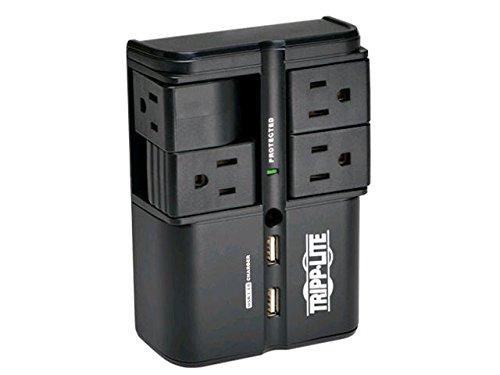 Tripp Lite 6Outlet Überspannungsschutz/Entstörfilter, Wandhalterung Direct Plug-in, schwarz, 10K Versicherungen (SK6–0B) 4 drehbare Steckdose + USB 1 Schwarz -