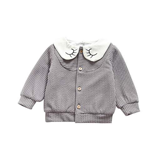 Miyanuby Kinder Baby Mädchen Button-up Lange Ärmel Strickjacke Mantel Frühling Herbst Kleidung Jacken 1-4 Jahre Button-up-mantel