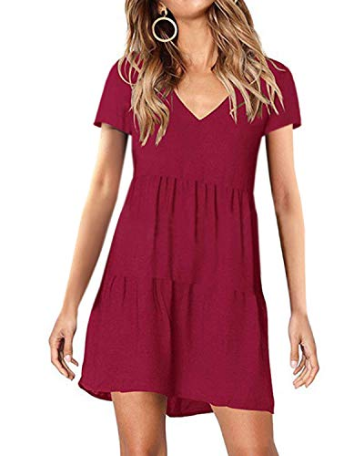 kenoce Kleider Damen Sommer Sommerkleid Damen Knielang Kurzarmkleider Tunika Kleid Swing Einfarbig Minikleid A-Weinrot S Damen Sommer Kleid