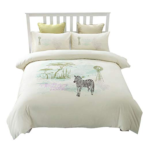 bestickt Bettbezug Set QUEEN Größe 100Baumwolle elfenbeinfarben Luxus Bettwäsche natürlichen Africa Zebra und Baum Hypoallergen 218,4x 243,8cm 4Stück Set mit 2Kissenbezüge und 1Bett Tabelle -