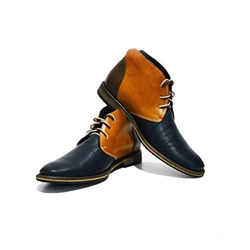 PeppeShoes Modello Bergamo - 39 - Handgemachtes Italienisch Bunte Herrenschuhe Lederschuhe Herren Mehrfarbig Stiefeletten Chukka Stiefel - Rindsleder Weiches Leder - Schnüren -