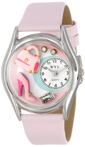 Whimsical Watches Unisex-Armbanduhr Shopper Mom Pink Leather And Silvertone Watch #S1010007 Analog Leder mehrfarbig S-1010007