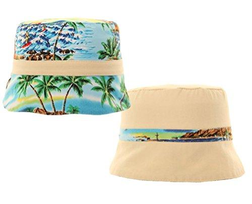 Trendy reversibile per bambini cappello da sole - sulla spiaggia con elastico. Cotone età 4-6, 7-10