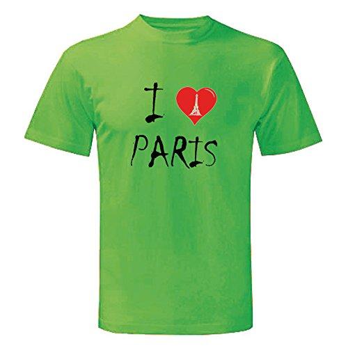 Art t-shirt, maglietta i love paris, uomo, verde, m