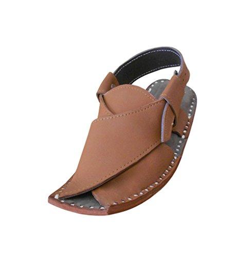 KALRA Creations Herren Traditionelle indische Leder Slipper Sandalen Braun