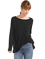 GAP Womens Plain T-Shirt (143836000018_35611920004_True Black V2_S)
