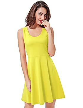 Kate Kasin®Vestido Color Liso Plisado Skater Vintage Años 50 Pin Up Rockabilly 487