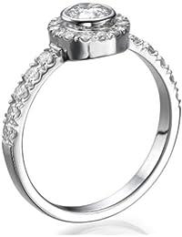 Diamant Ring 0.62 Ct W I/SI2 Round 18 Karat (750) Weißgold (Ringgröße 48-63)