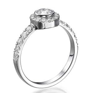 Zertifikat Klassischer 18 Karat (750) Weißgold Damen - Diamant Ring Round 0.61 Karat E-SI3 (Ringgröße 48-63)