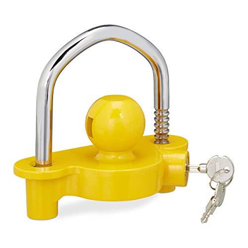 Relaxdays Anhängerschloss, Diebstahlschutz für gängige Anhängerkupplung, 2 Schlüssel, massiv, Anhängersicherung, gelb