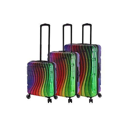 Rada Aero Vortex Reisekoffer, Hartschale aus ABS, klein, mittel, groß, Kofferset, Trolley mit Motiv, TSA-Schloss und 4 Rollen (Rainbow, Koffer-Set)