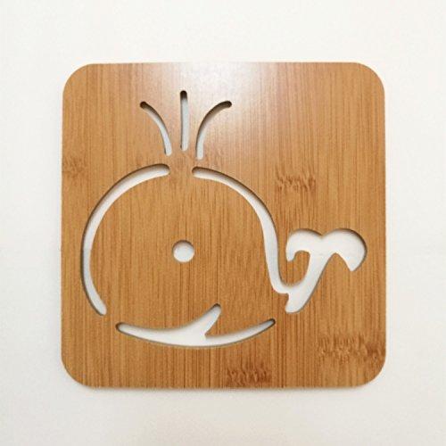 Geschnitzten Tisch (Didcant geschnitzt Untersetzer aus Holz/Abendessen Decor, perfektes Design und Multi Muster für Drink/Wein/Suppe, Home/Office Mittelpunkt für Tisch - Fantastisches Geschenk Einzugs, holz, eule, Large(14.5*14.5*0.5cm) (Large, Großer Wal))