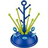ZEEUPAI - Escurridor para biberones y vajilla infantil Secador con bandeja antigoteo desmontable Botellero para biberones (Azul marino)