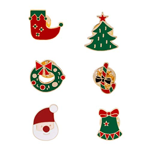 Amosfun 6pcs Weihnachtsbrosche Pin Weihnachtsmann Weihnachtsbaum Candy Cane Socke Jingle Bell Donut lustige Anstecknadel Abzeichen Kostüm verkleiden Requisiten - Candy Cane Kostüm